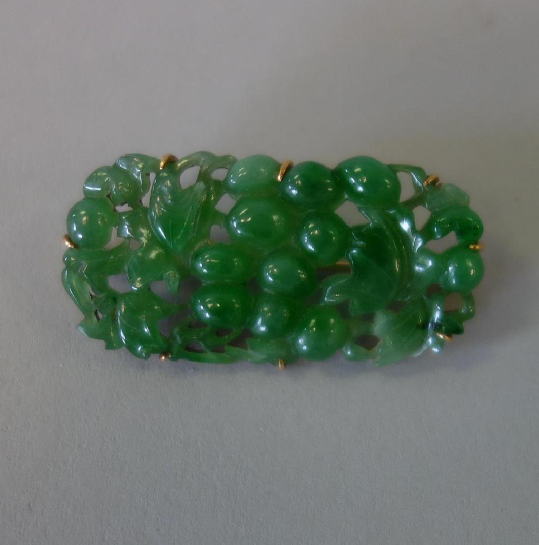 Chinese Carved Jadeite Jade Brooch