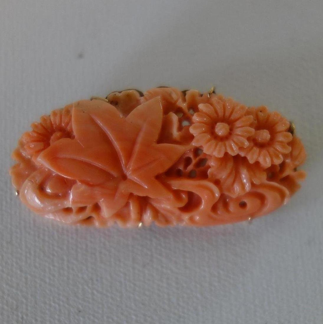 Chinese Carved Coral & 14K Gold Brooch