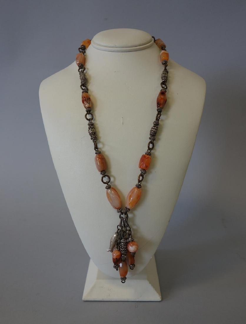 Chinese Mongolian Silver & Carnelian Necklace