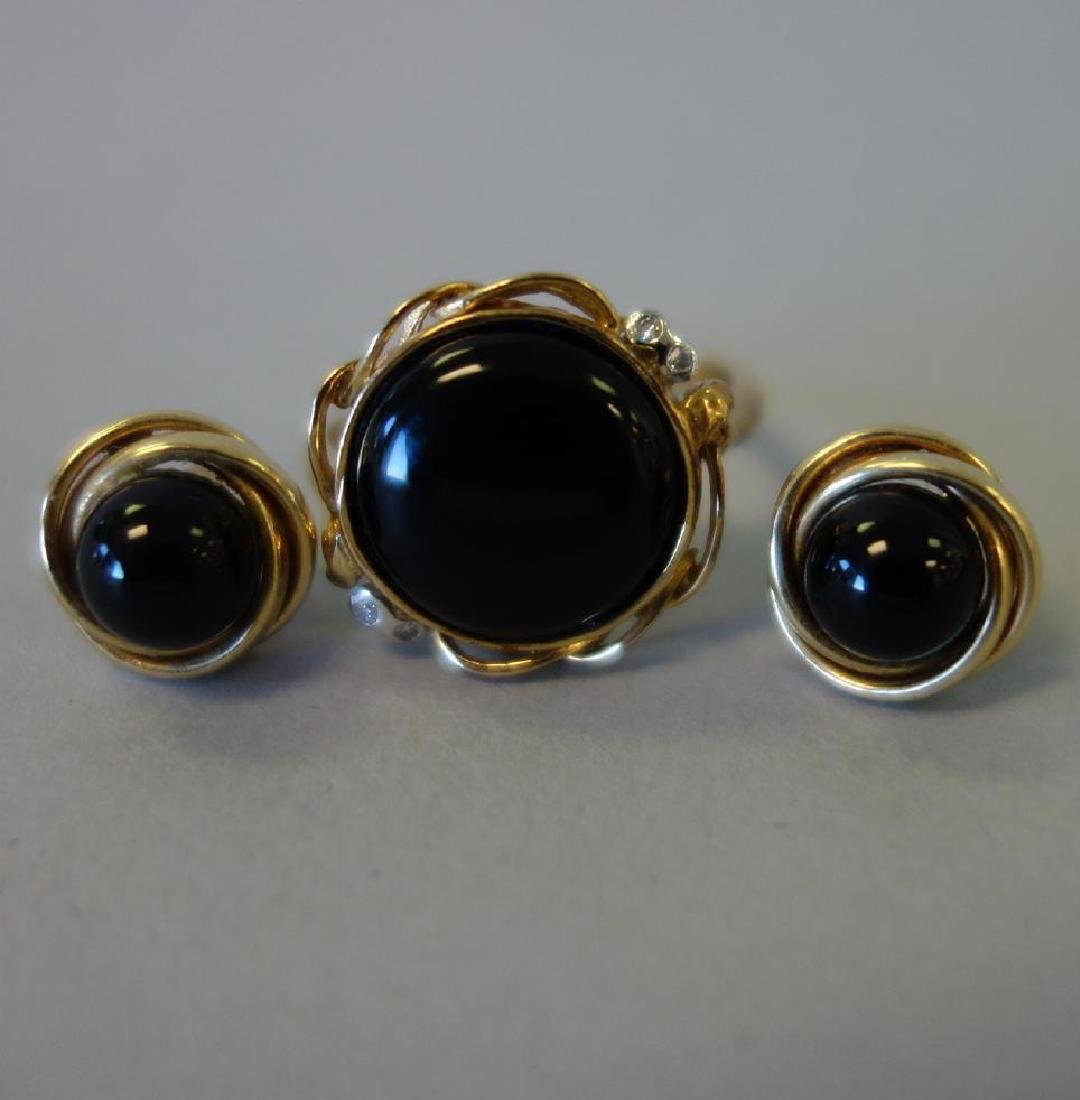 Black Onyx & Diamond Ring + Onyx & Gold Earrings