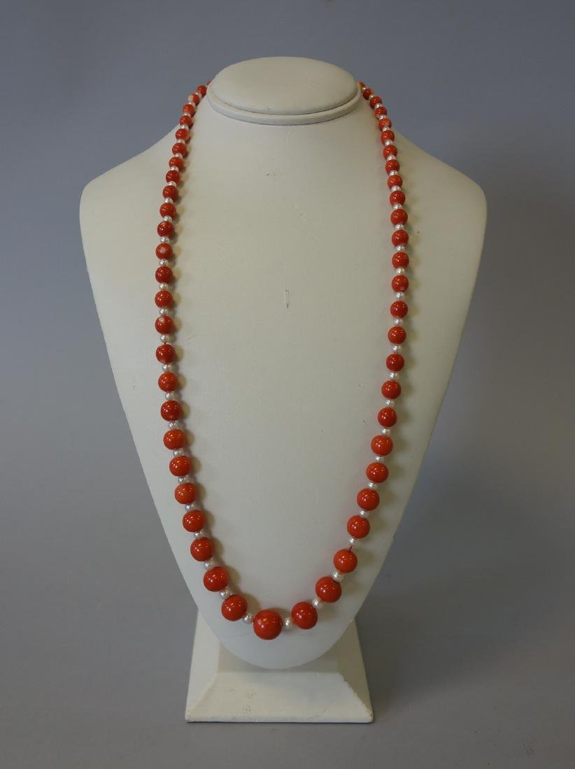 Coral & Pearl Single Strand Necklace