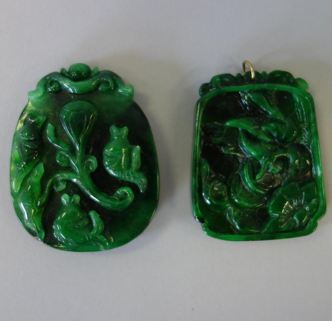 2 Chinese Carved Green Jade Pendant Plaques