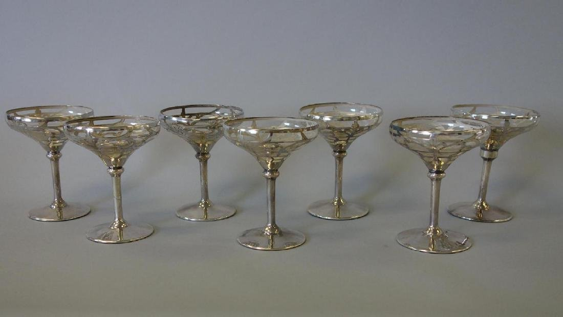 Set of 7 Sterling Overlay Champagne Coupes
