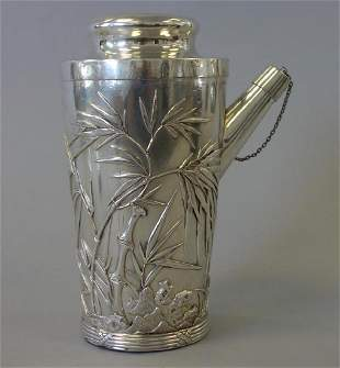 Fine Chinese Sterling Cocktail Shaker, Signed
