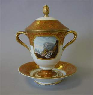 Derby Porcelain Covered  Ecuelle & Stand, c.1820