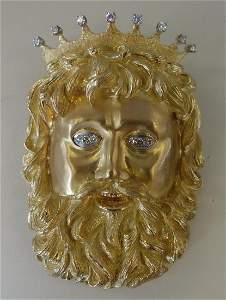 Henry Dunay 18K Gold & Diamond Brooch / Pendant Neptune