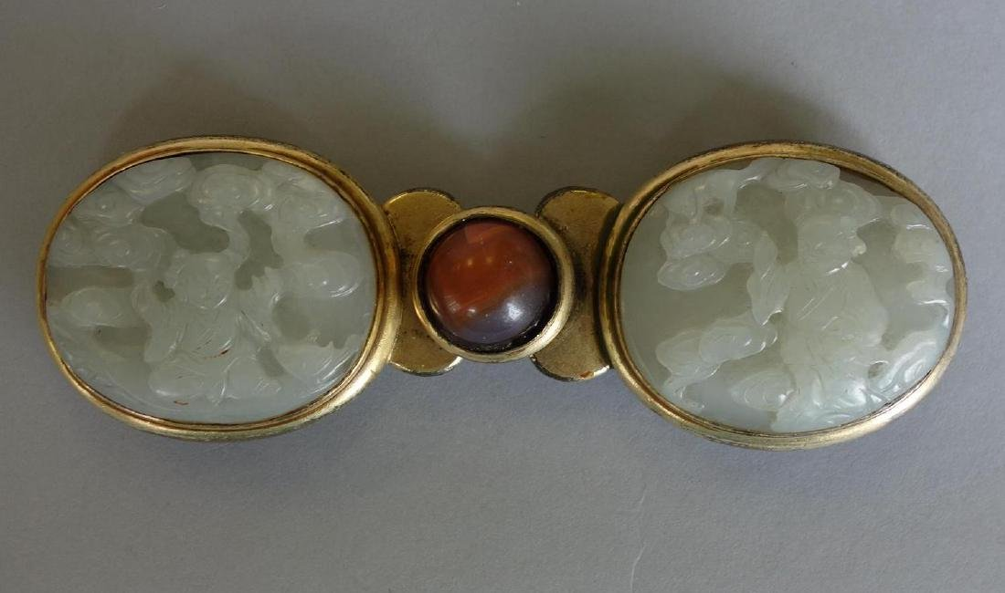 Chinese Carved White Jade Belt Buckle Qing Dynasty