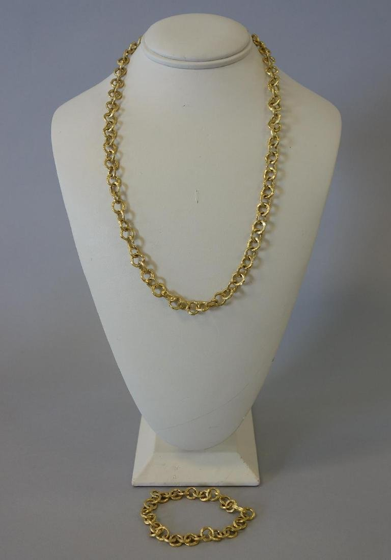 Italian 18K Gold Necklace & Bracelet