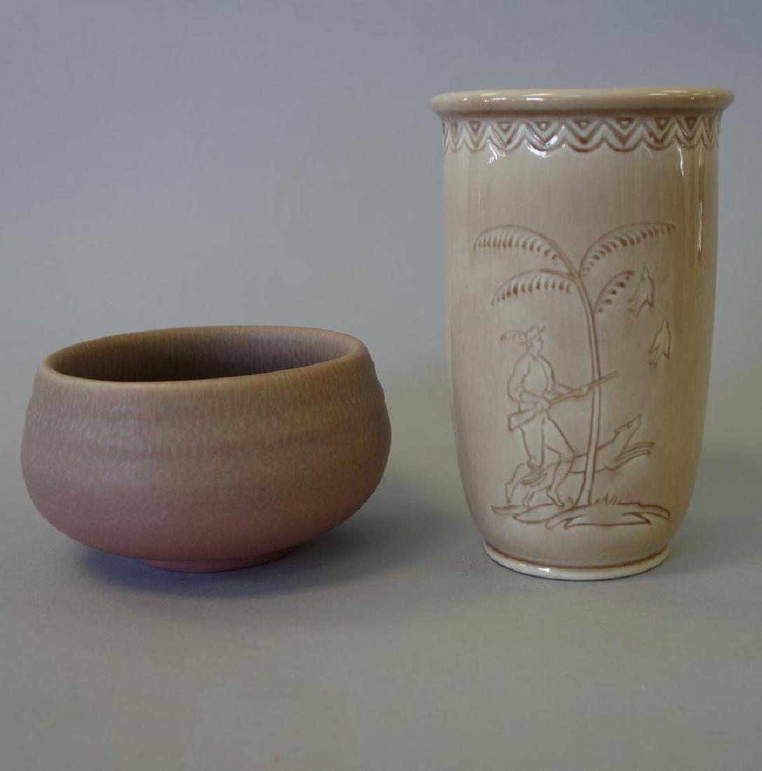 Decorated Rookwood Vase & Bowl