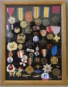 Framed Vintage Medals, Pins & Buttons