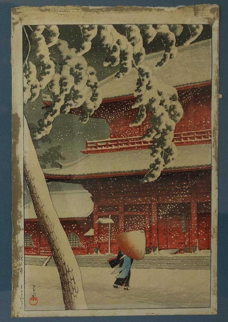 Hasui Kawase, Shiba Zojoji Temple in Snow