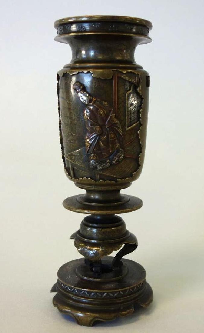 Fine Japanese Bronze Mixed Metal Vase - 3