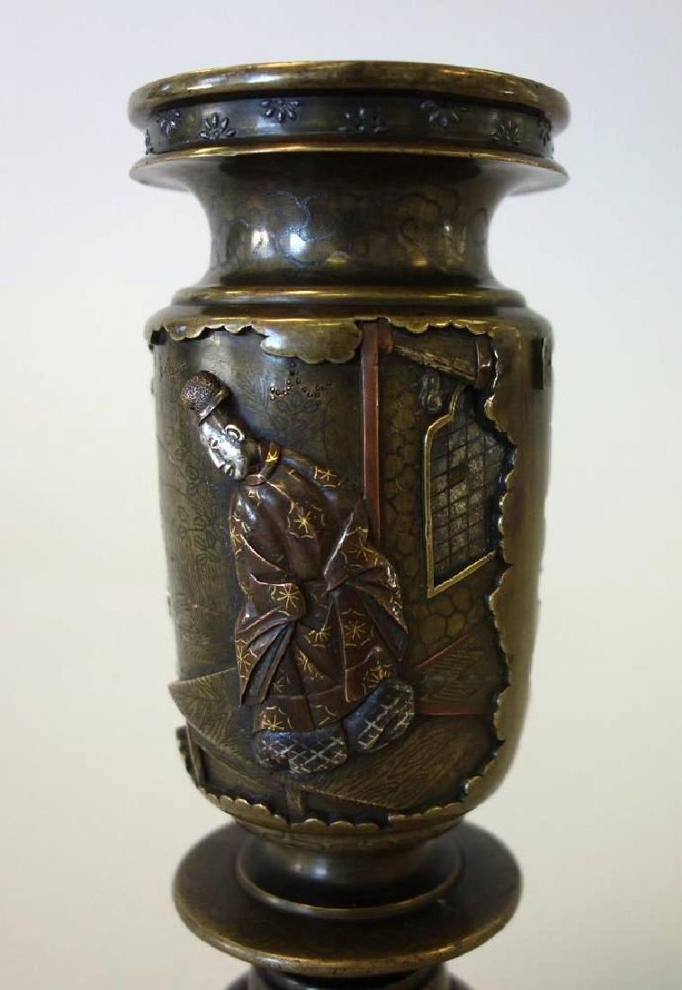 Fine Japanese Bronze Mixed Metal Vase - 4