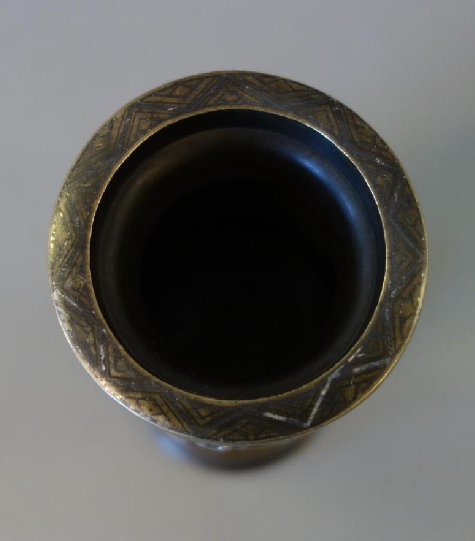 Fine Japanese Bronze Mixed Metal Vase - 9
