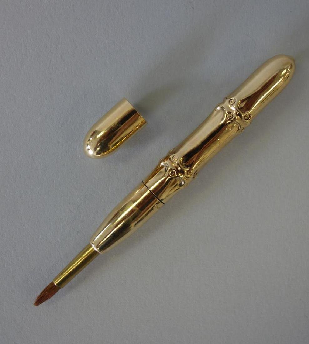 Tiffany & Co 14K Gold Bamboo Make-Up Brush
