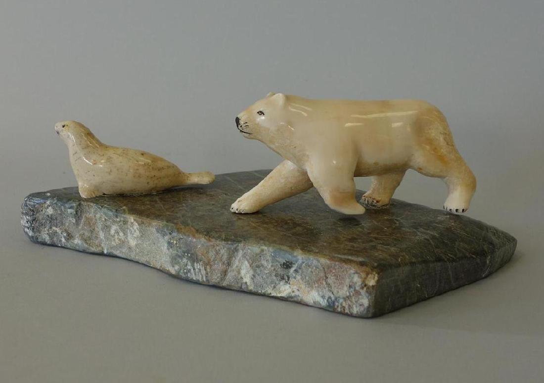 Alaskan Inuit Polar Bear & Seal Carving, Signed KY