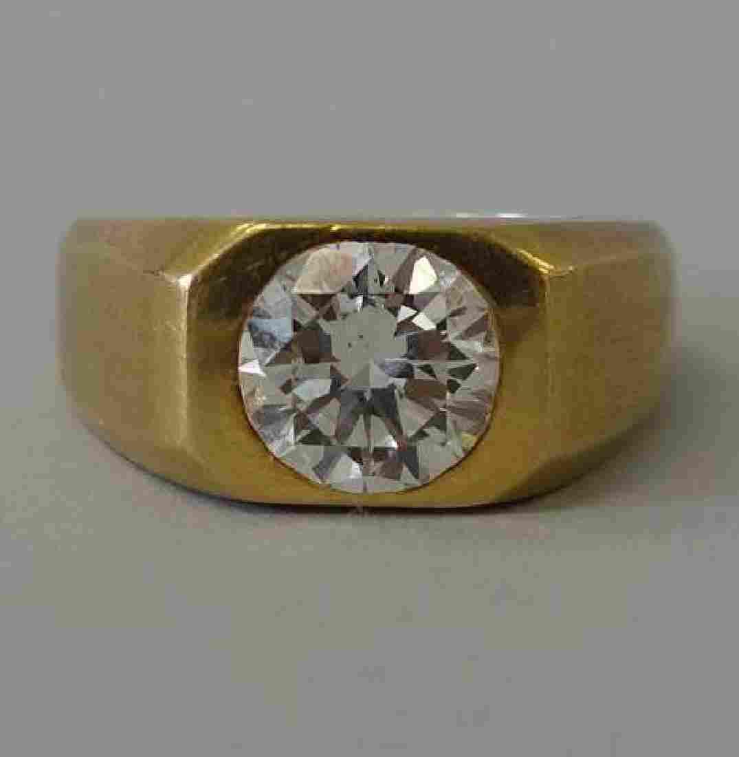 Men's 18K Gold & Diamond Ring, 2.56 Carats