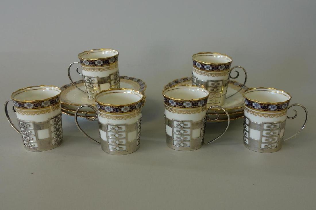 Aynsley Porcelain Sterling Demitasse, Set of 6