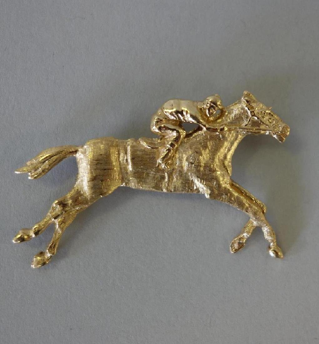 14K Gold Jockey & Racing Horse Brooch Pin