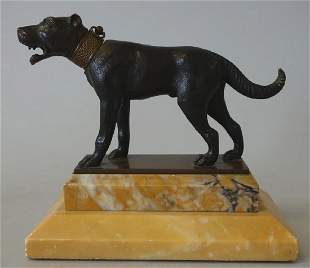 19thc Bronze Model of a Hunting / Guard Dog