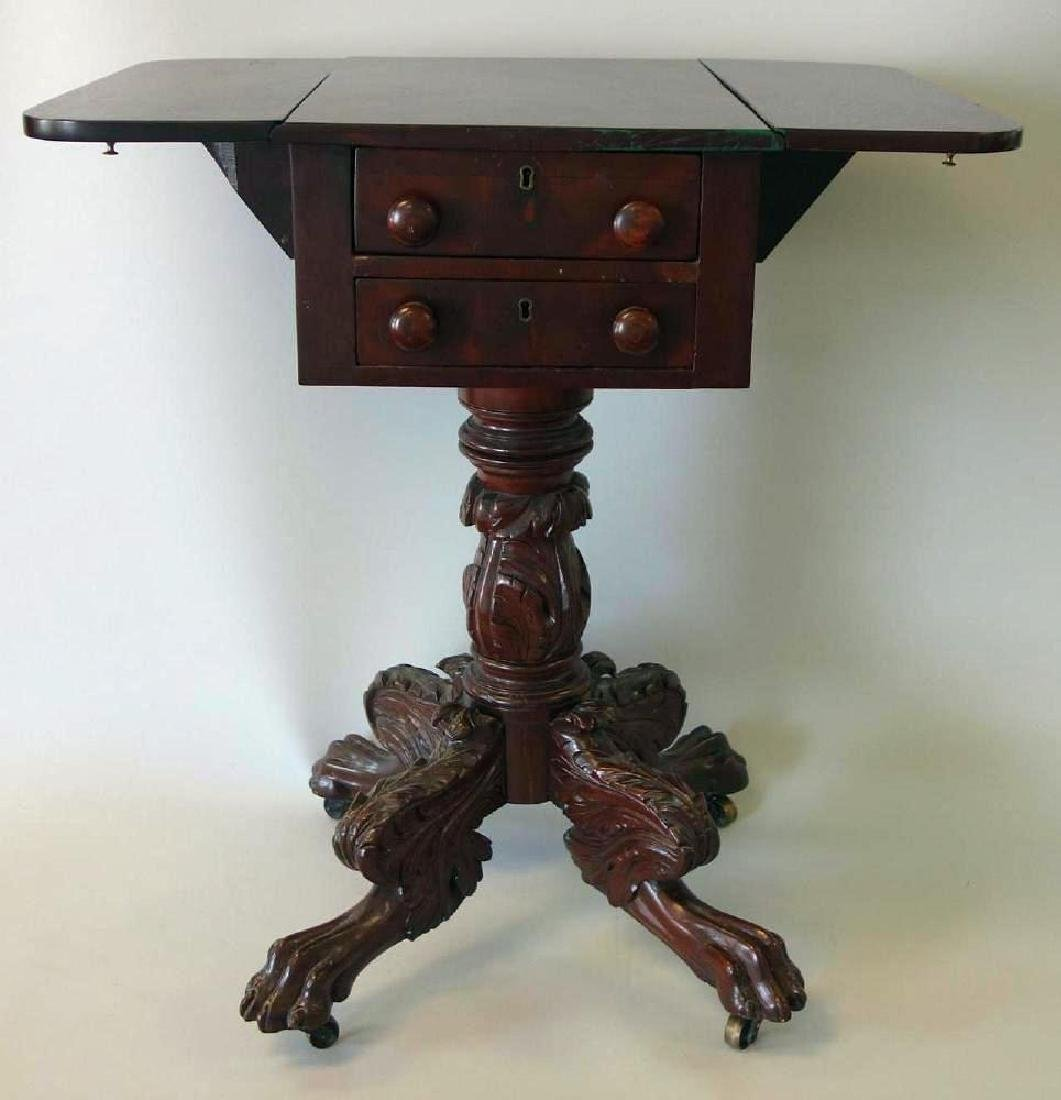 Federal 2 Drawer Mahogany Stand, c.1830, Signed