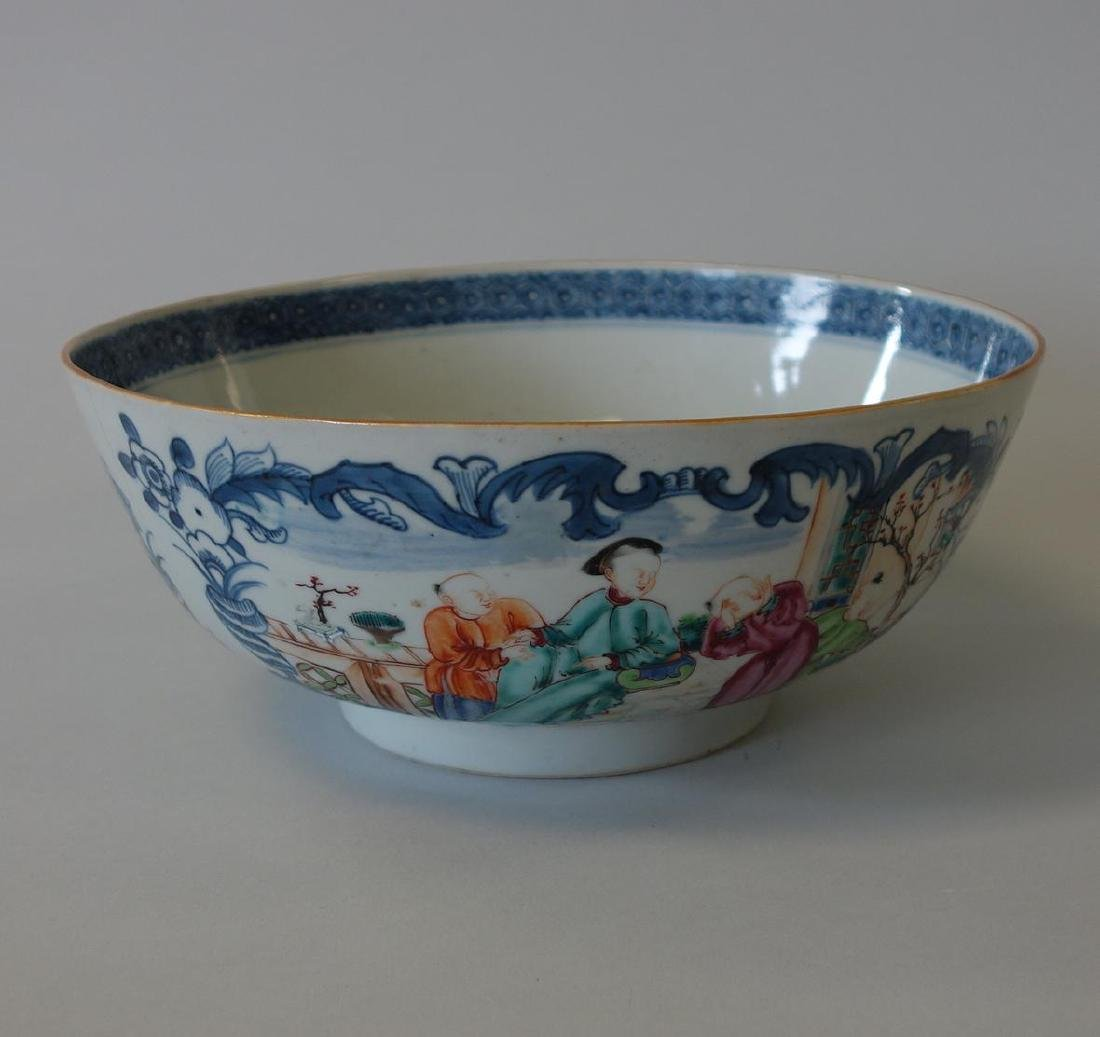 18thc Chinese Famille Rose Porcelain Punch Bowl