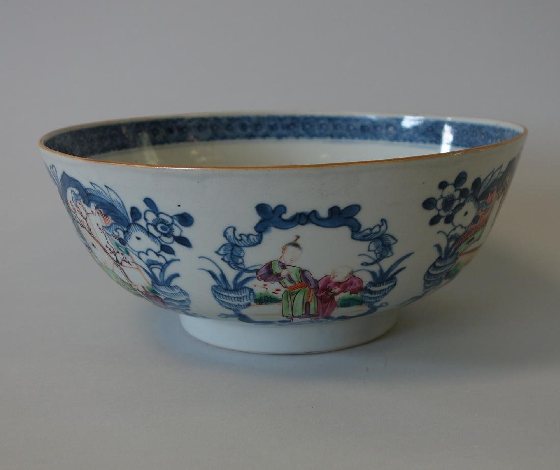 18thc Chinese Famille Rose Porcelain Punch Bowl - 3