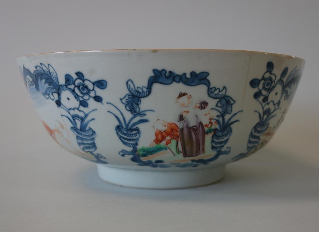 18thc Chinese Famille Rose Porcelain Punch Bowl - 4