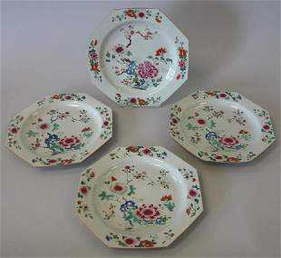 18thc Chinese Export Famille Rose Porcelain Plates