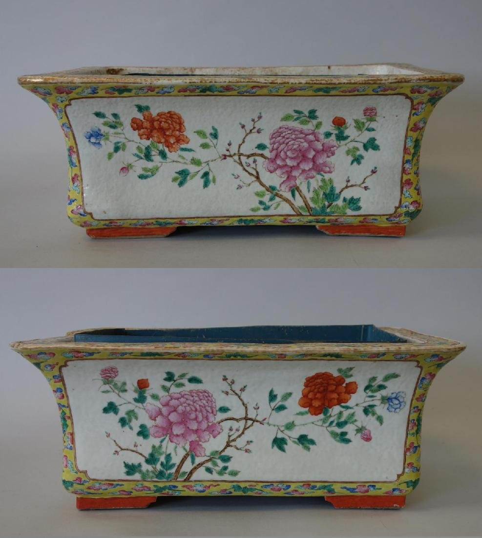 Chinese Famille Rose Porcelain Planters, Pair