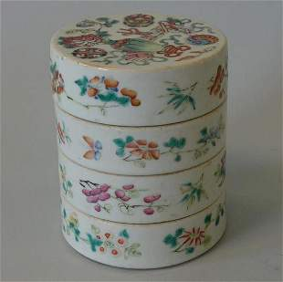 19thc Chinese Famille Rose Porcelain Stacking Box