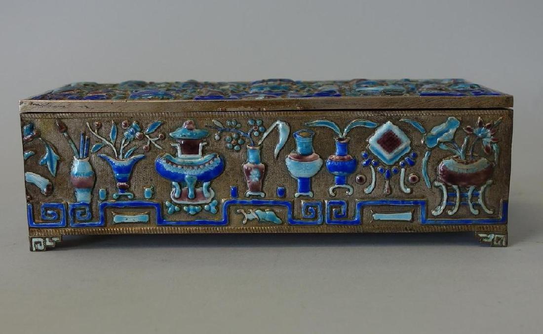 19thc Chinese Silvered Metal & Enamel Box