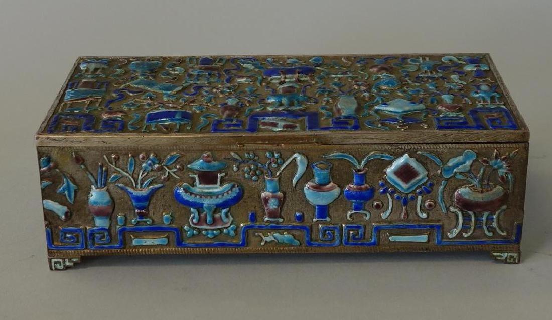 19thc Chinese Silvered Metal & Enamel Box - 2