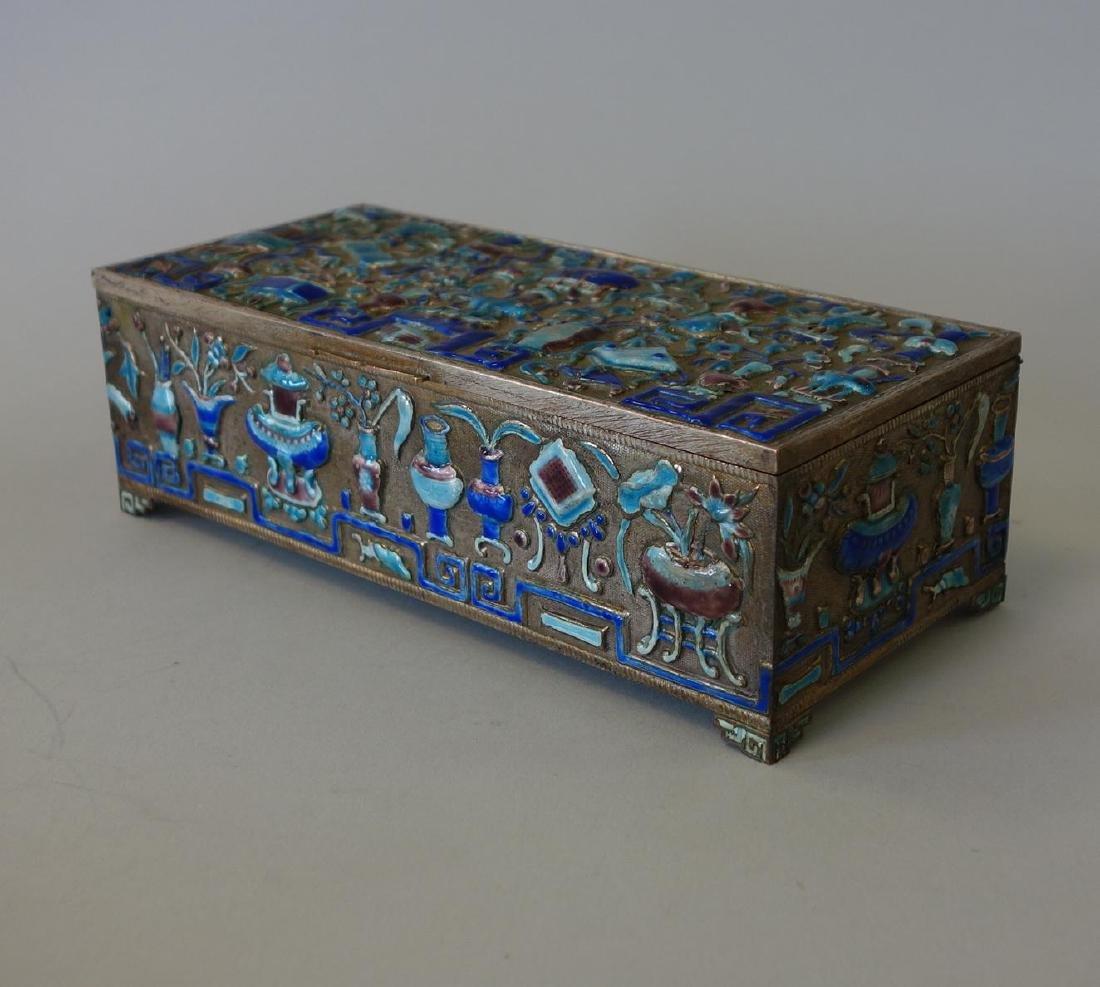 19thc Chinese Silvered Metal & Enamel Box - 4