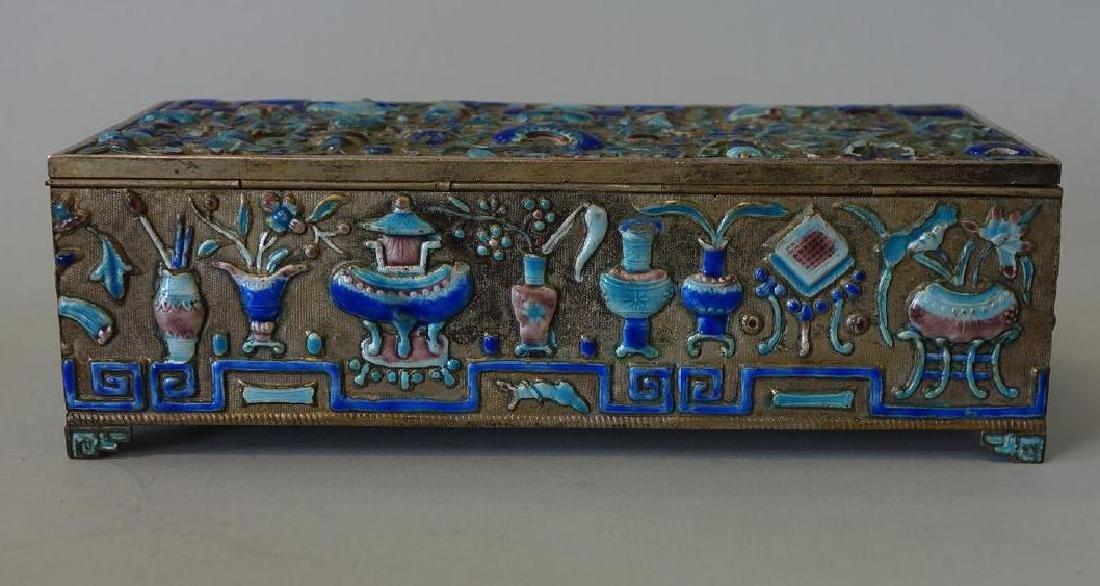 19thc Chinese Silvered Metal & Enamel Box - 5