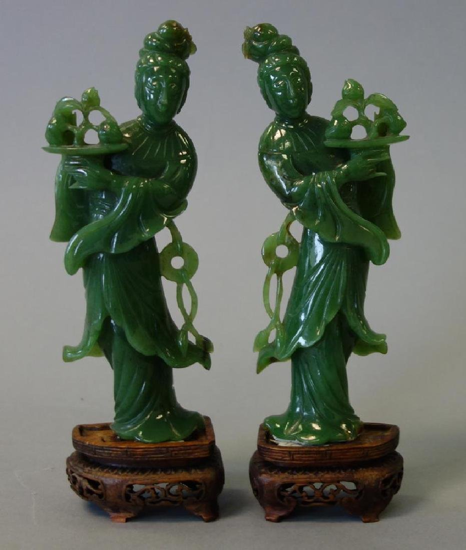Chinese Carved Spinach Jade Guanyins, Pair