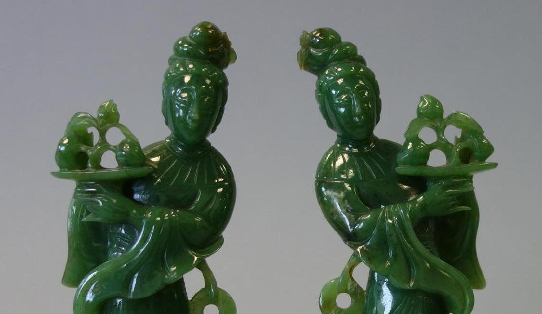 Chinese Carved Spinach Jade Guanyins, Pair - 2
