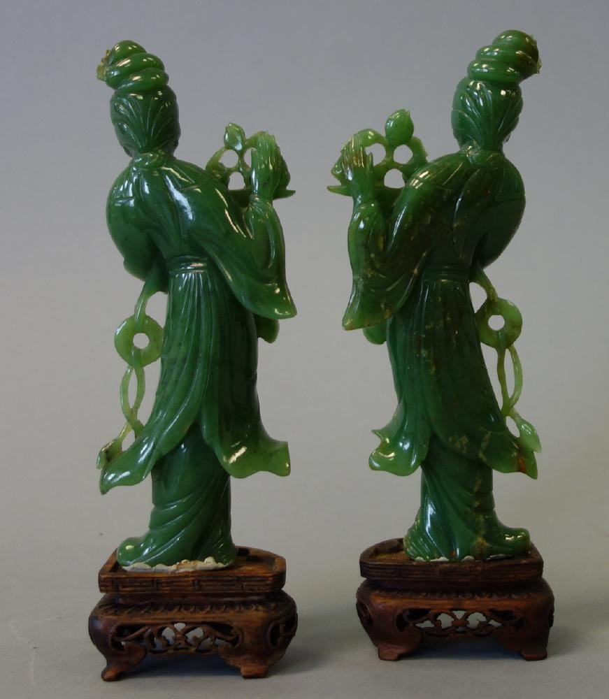 Chinese Carved Spinach Jade Guanyins, Pair - 3