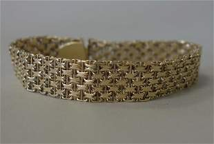 14K Gold Basket Weave Bracelet, Initial Signed