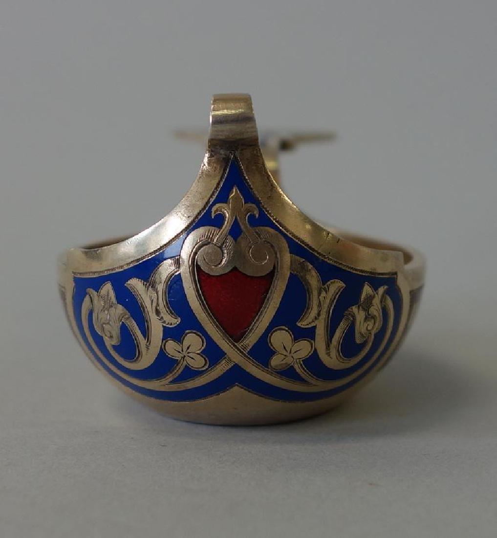 Ivan Khlebnikov Russian Silver & Cloisonne Kovsh - 5