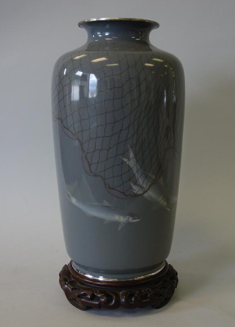 Japanese Ando Jubei Cloisonne Enamel Vase - 3