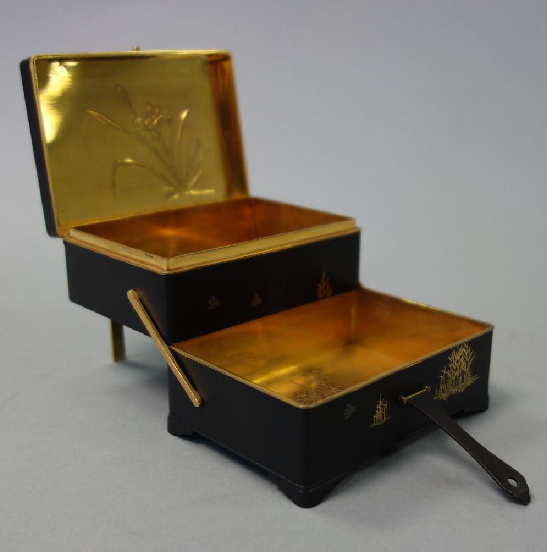 Otojiro Komai Damascene Iron Step-Back Box, Meiji - 4