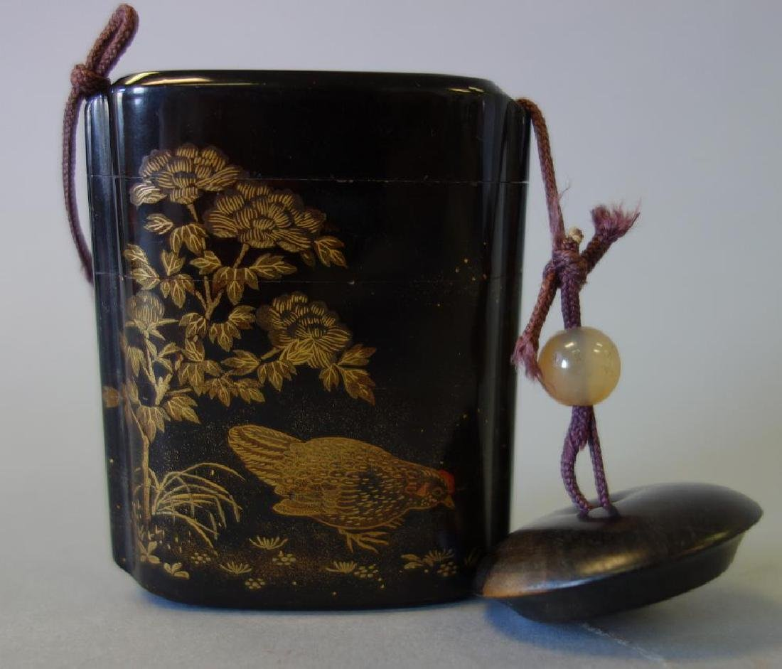 Japanese Gilt Lacquer Inro, Rooster, Signed, Meiji - 2