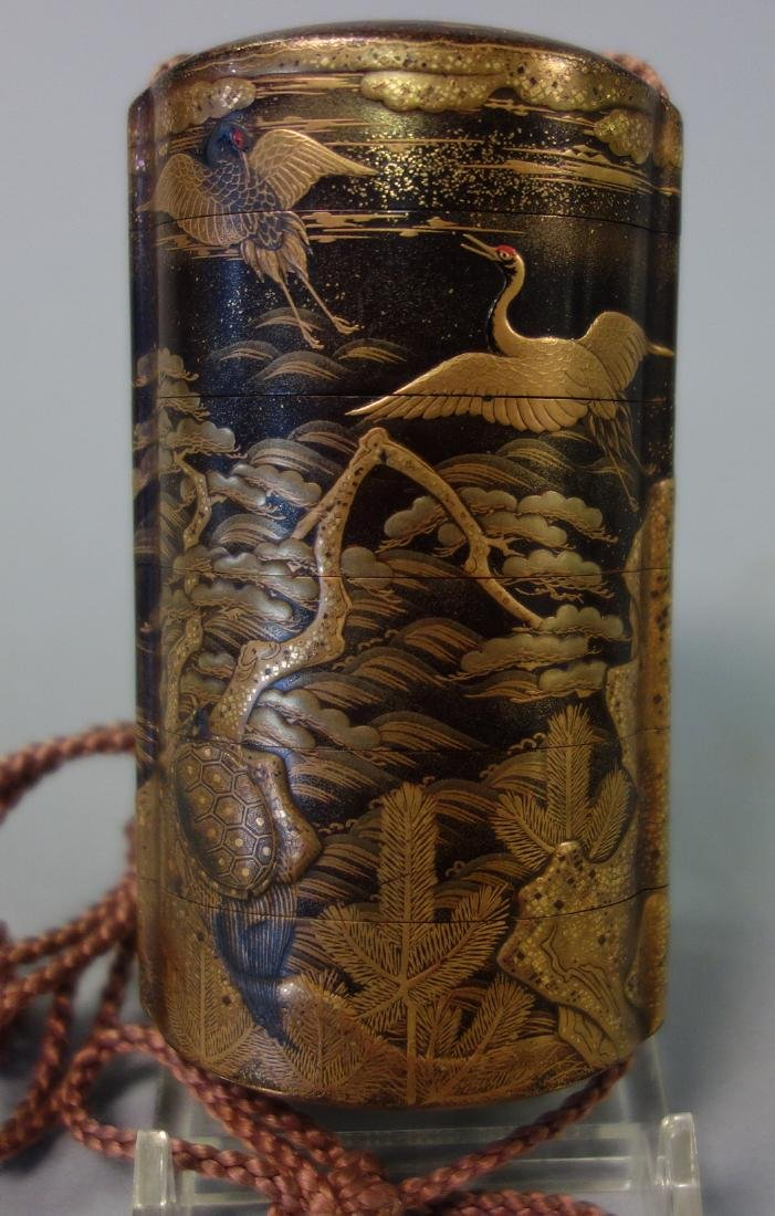 Japanese Gilt Lacquer Inro, Great Heron & Tortoise