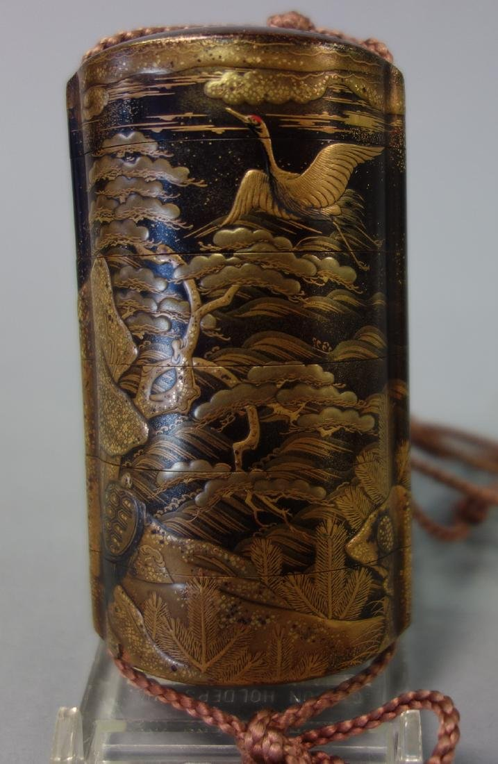 Japanese Gilt Lacquer Inro, Great Heron & Tortoise - 2