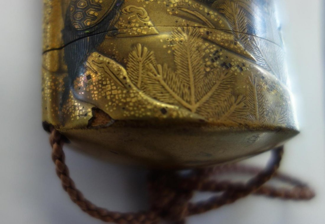 Japanese Gilt Lacquer Inro, Great Heron & Tortoise - 3