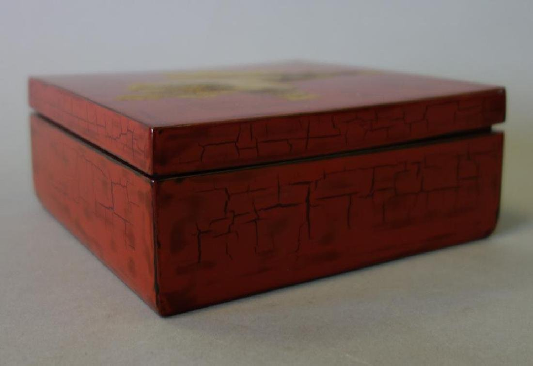 Japanese Red & Gilt Lacquer Box, Meiji - 2