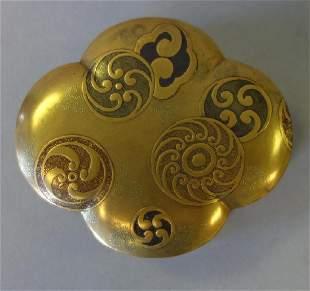 Japanese Gilt Lacquer Quatrefoil Box, Late Meiji