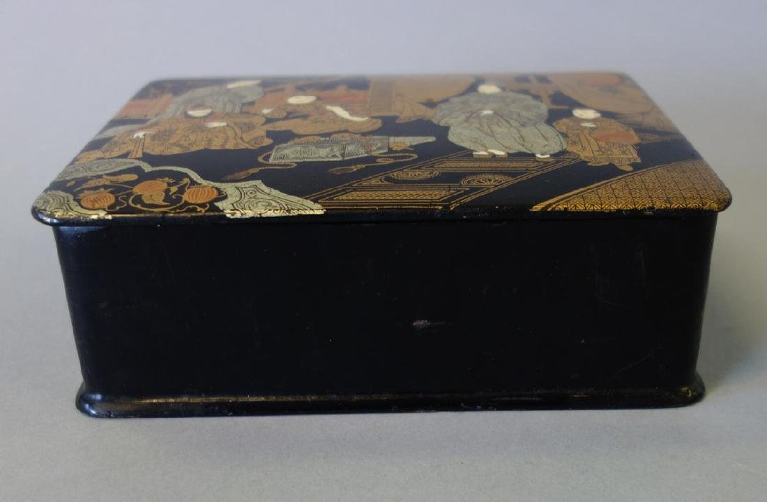 Japanese Gilt Lacquer Box, Figural & Mice Motif - 2