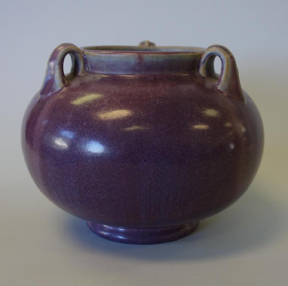 Fulper Pottery 3-Handled Vase, Purple Flambe Glaze